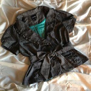 Gray Short Sleeve Blazer with Tie and Ruffles Sz L